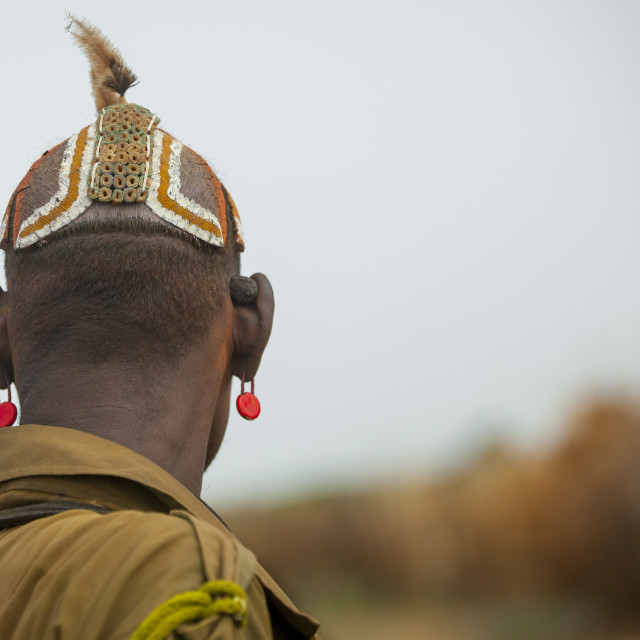 """Dassanech Tribe Men With Clay Buns On The Head, Omorate, Omo Valley, Ethiopia"" stock image"