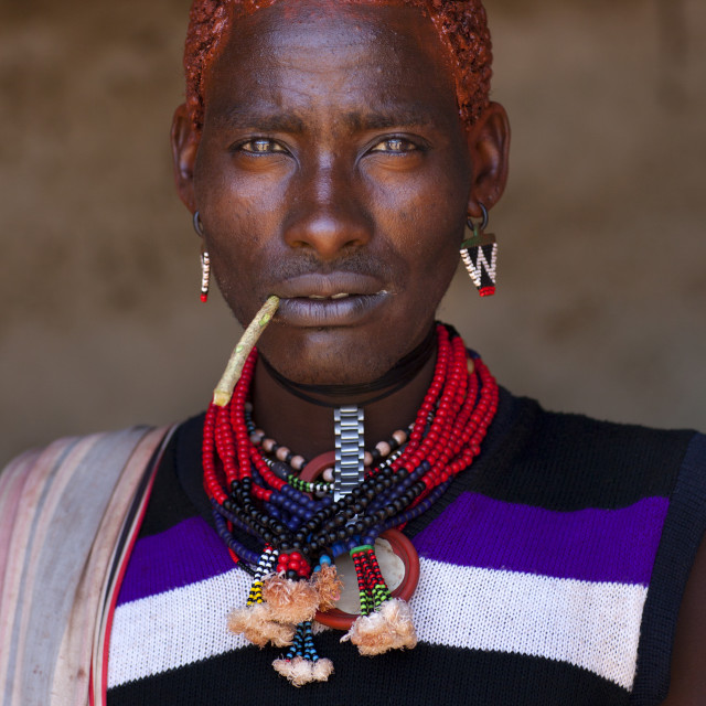 """Hamer Man With Red Hair,turmi, Omo Valley, Ethiopia"" stock image"
