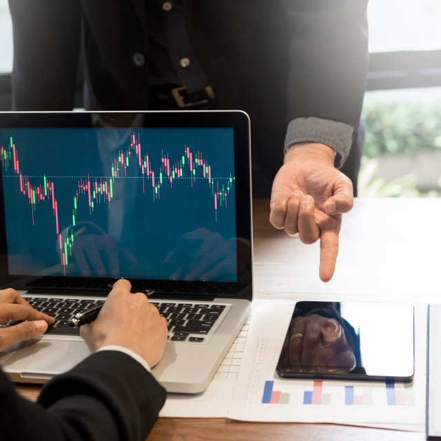 """Finance trade manager showing reports screen analysis finance cu"" stock image"