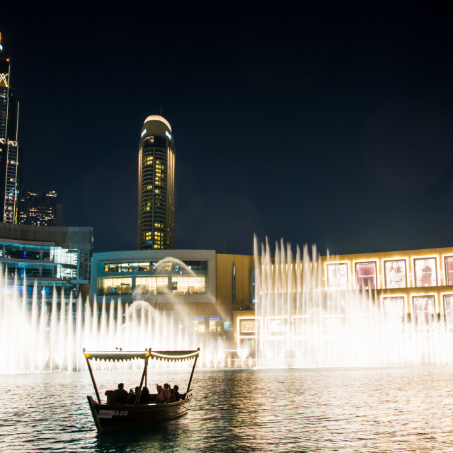 """""""Dubai fountain show at night which attracts many tourist every day."""" stock image"""