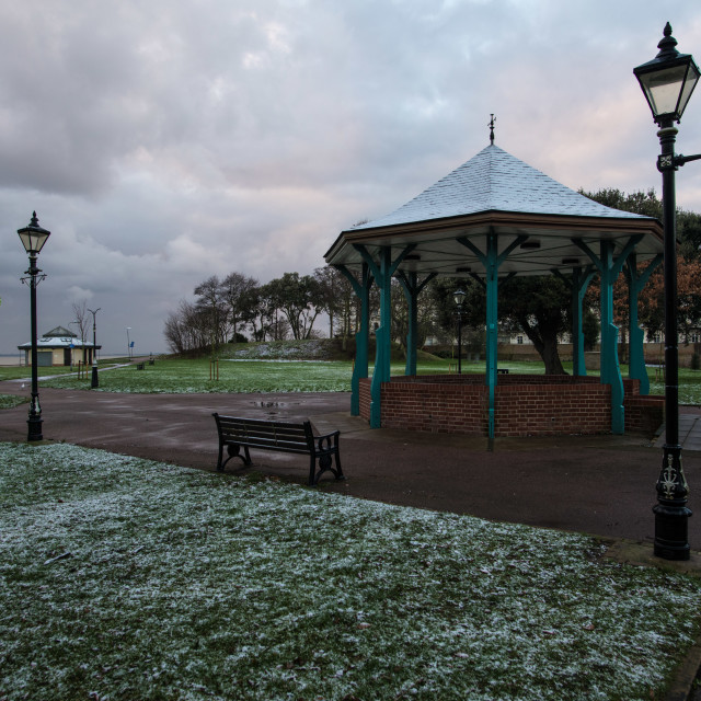 """""""Harwich Snowy Bandstand"""" stock image"""