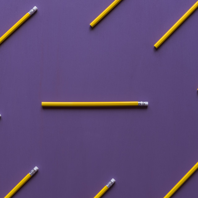 """""""Pencils with eraser tops on purple background"""" stock image"""
