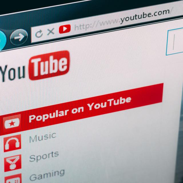 """""""YouTube homepage"""" stock image"""