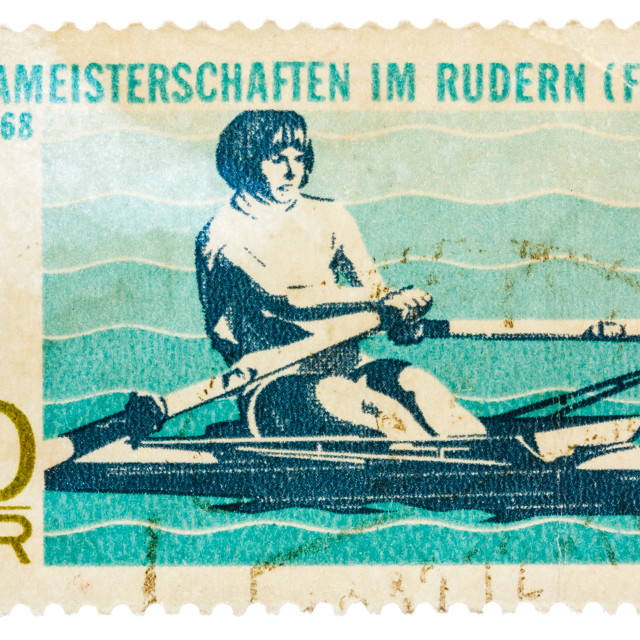 """Postcard printed in the DDR shows Championship European Rowing (WOMEN)"" stock image"
