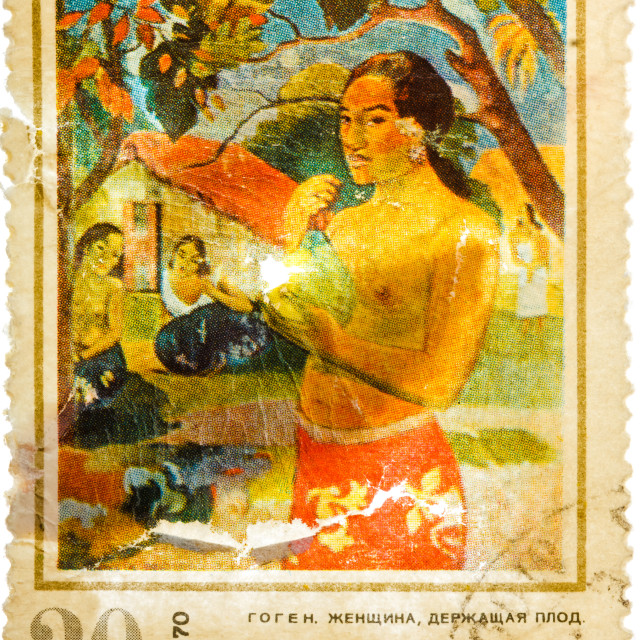 """Stamp printed in the USSR shows Woman with Fruit, by Gauguin"" stock image"