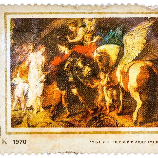 """Old used USSR postage stamp issued in honor of the great Flemish Baroque..."" stock image"