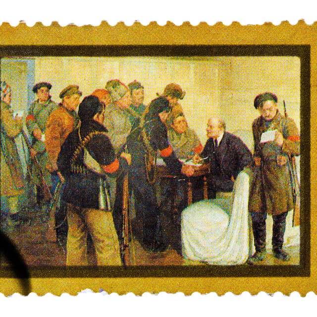 """""""Stamp printed by Russia, shows Lenin in Smolny Palace in October 1917 by..."""" stock image"""