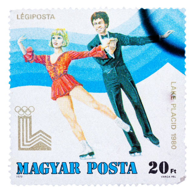 """Stamp printed in the Hungary shows Figure Skating, Winter Olympics Lake..."" stock image"