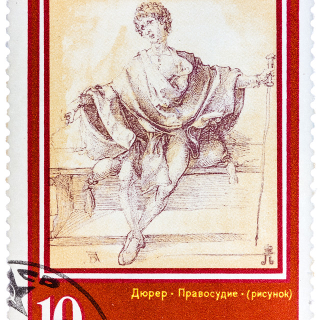 """Stamp printed in the USSR, shows a painting artist Albrecht Durer ""Justice"""" stock image"