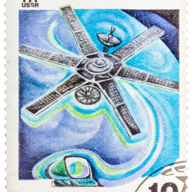 """Stamp printed in the USSR shows Soviet communication satellite"" stock image"