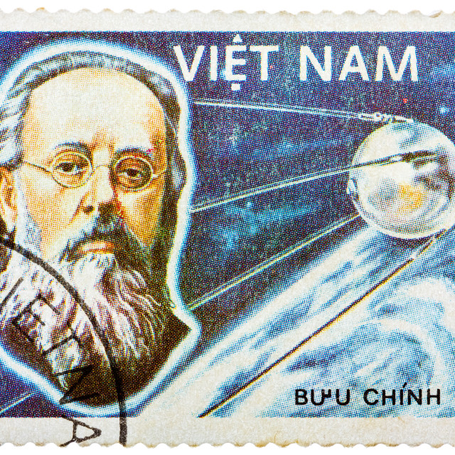"""Stamp printed in the Vietnam shows Konstantin Tsiolkovsky, 1st Manned Space..."" stock image"
