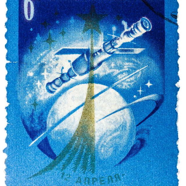 """""""Stamp printed in USSR, day of space exploration, space station union,..."""" stock image"""