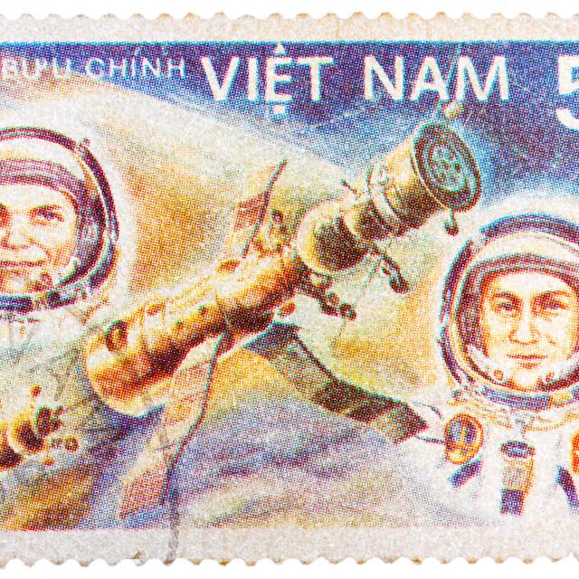 """""""Stamp printed in Vietnam shows vietnam cosmonaut Pham Tuan and soviet..."""" stock image"""