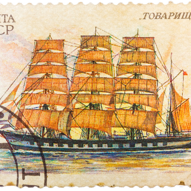 """""""Stamp printed in former SOVIET UNION shows a Four-masted Barque Tovarishch"""" stock image"""