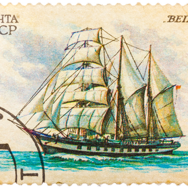 """""""Stamp printed in former SOVIET UNION shows a Barquentine Vega, circa 1981"""" stock image"""