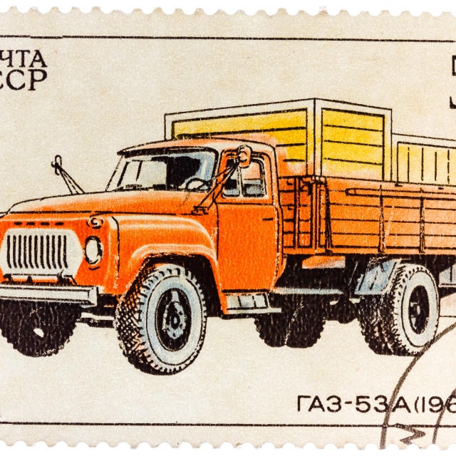 """Stamp printed in Russia, shows retro truck"" stock image"