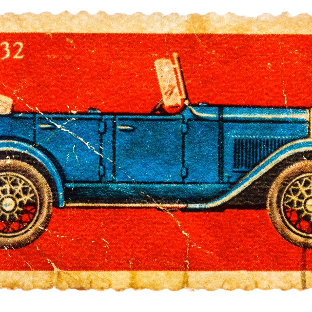 """""""Stamp printed in USSR shows the GAZ-A Car (1932), series"""" stock image"""