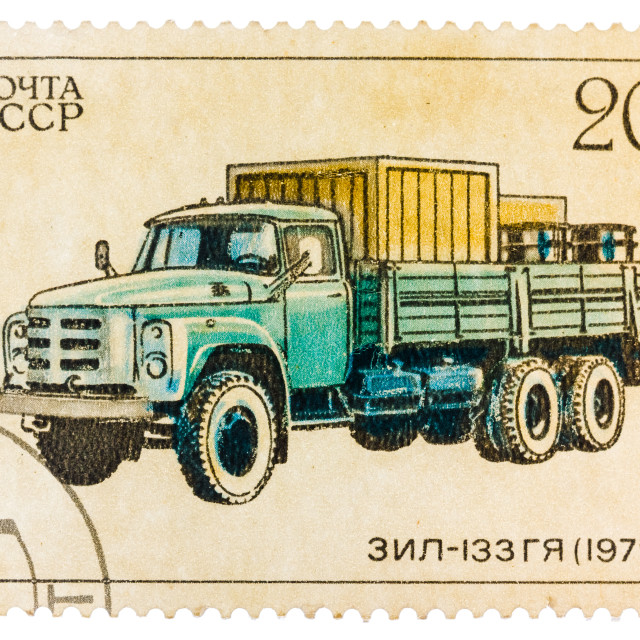 """Stamp printed in Russia, shows retro truck ZIL - 133"" stock image"