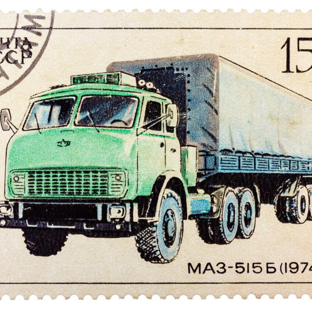 """Stamp printed in Russia, shows retro truck MAZ - 515 B"" stock image"