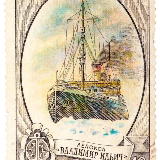 """Postage Stamp Shows Russian Icebreaker ""Vladimir Ilich"""" stock image"