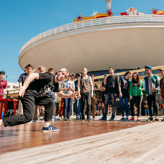 """""""Battle dance youth teams at the city festival in Gomel, Belarus"""" stock image"""