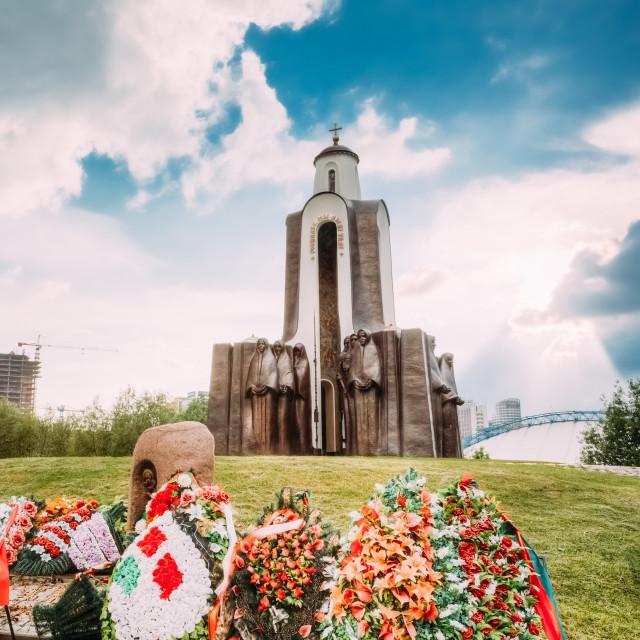 """Afghanistan War Memorial On Island Of Tears (Ostrov Slyoz) in Minsk, Belarus"" stock image"
