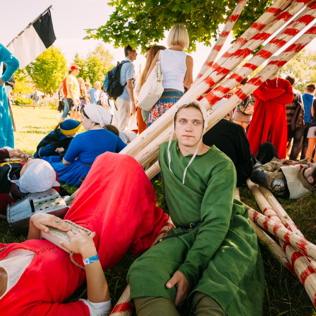 """""""Participants of festival of medieval culture in Belarus"""" stock image"""