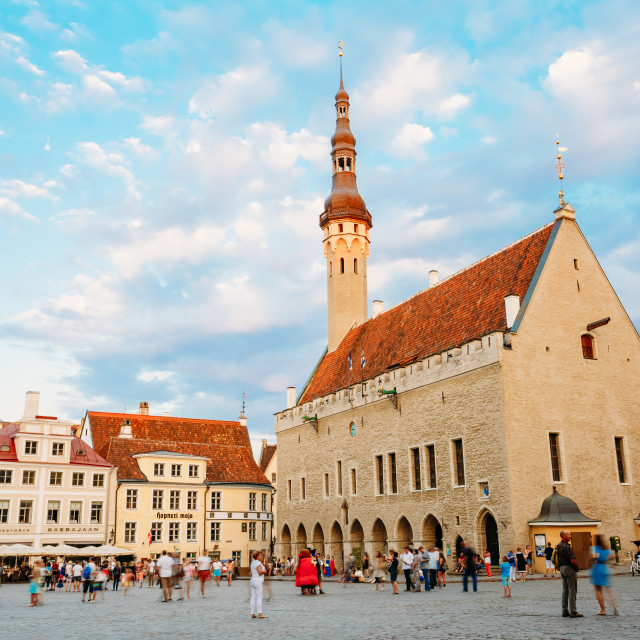 """Tallinn central Town Hall Square by Evening (Raekoja Plats)"" stock image"