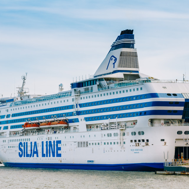 """""""Modern ferry boat """"Silja Line"""" at pier awaiting loading cargo from port and..."""" stock image"""