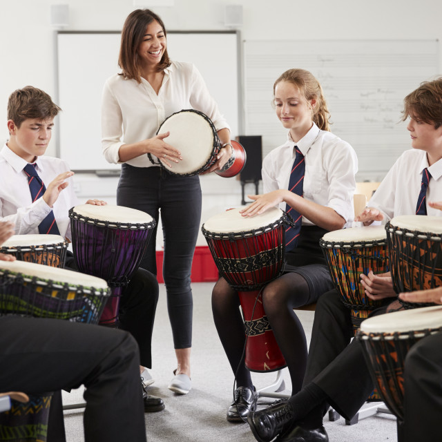 """""""Teenage Students Studying Percussion In Music Class"""" stock image"""