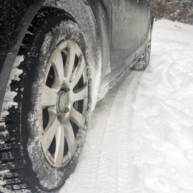 """""""Car tires on winter road"""" stock image"""