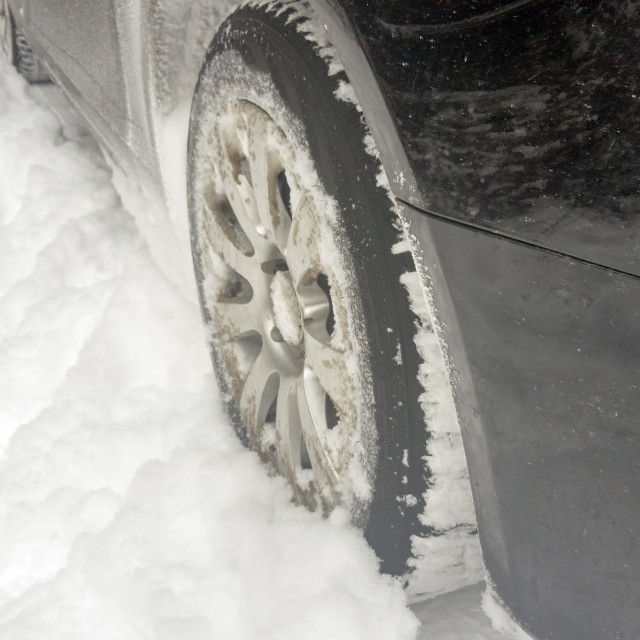 """""""Winter tires on snowy road"""" stock image"""