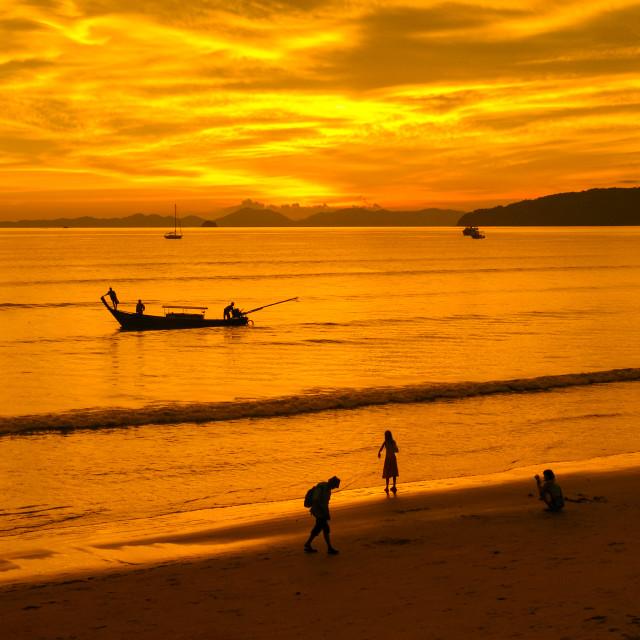 """""""Sunset at Ao Nang beach, Krabi, Thailand, Asia"""" stock image"""