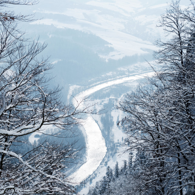 """Winter landscape of the Polish Pieniny mountains"" stock image"