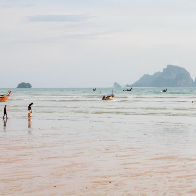 """Low tide Ao Nang beach, Krabi, Thailand, Asia"" stock image"