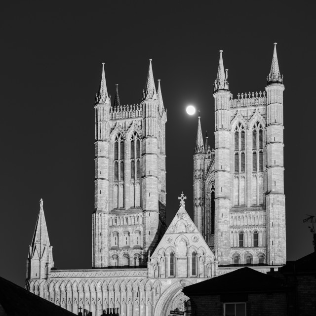"""Lincoln Cathedral at Night,UK."" stock image"