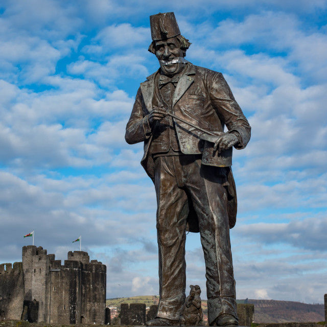 """Tommy Cooper statue with gaffer tape gag."" stock image"