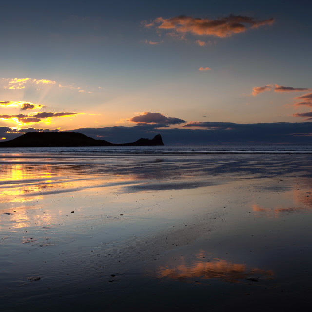 """""""Worms Head at Rhossili beach"""" stock image"""