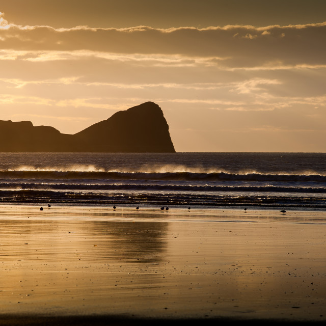 """Rhossili beach and Worms Head"" stock image"