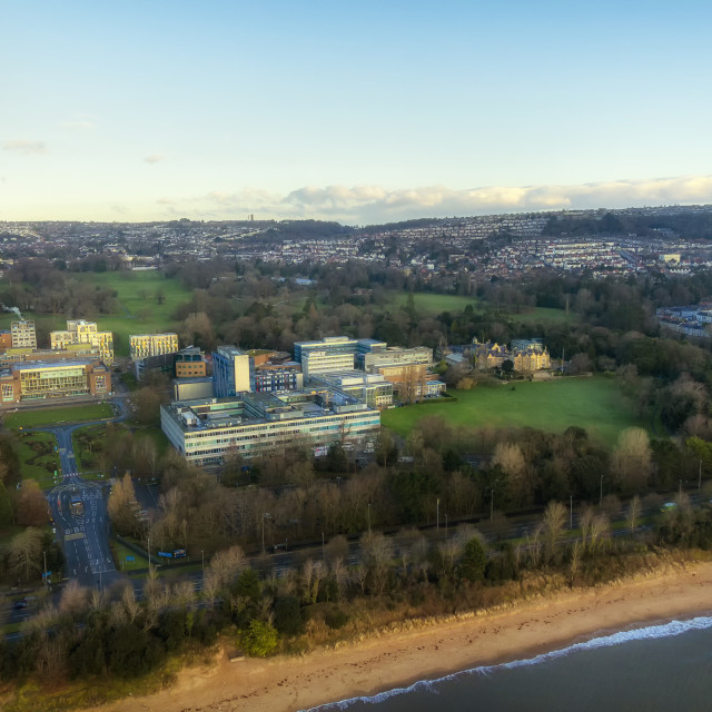 """Singleton Park and Swansea University"" stock image"