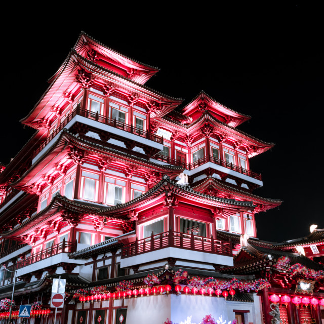 """""""Buddha Tooth Relic Temple in Chinatown Singapore at night"""" stock image"""