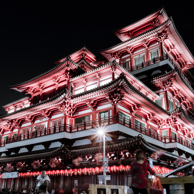 """""""Buddha Tooth Relic Temple in Chinatown Singapore with lights"""" stock image"""