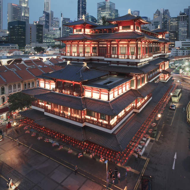 """""""Buddha Tooth Relic Temple in Chinatown Singapore during blue hour"""" stock image"""
