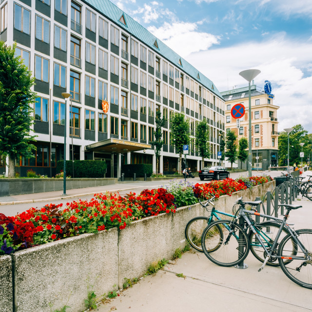 """Parked Bicycle On Sidewalk near The Ministry of Foreign Affairs of Norway"" stock image"