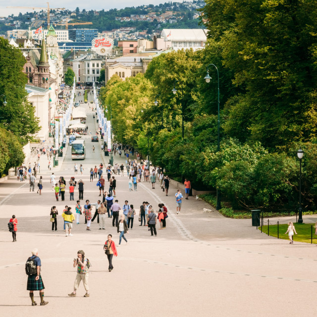 """""""Main street Karl Johans Gate leading to the Royal Palace in Oslo, Norway"""" stock image"""