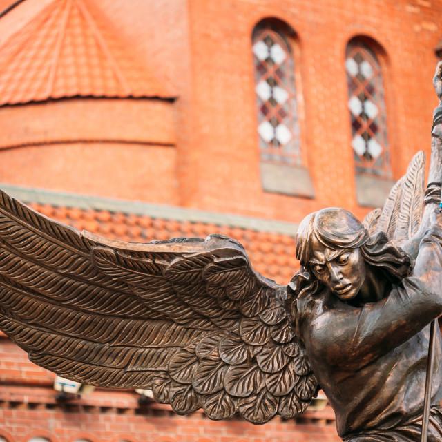"""""""Statue Of Archangel Near Red Church In Minsk, Belarus"""" stock image"""