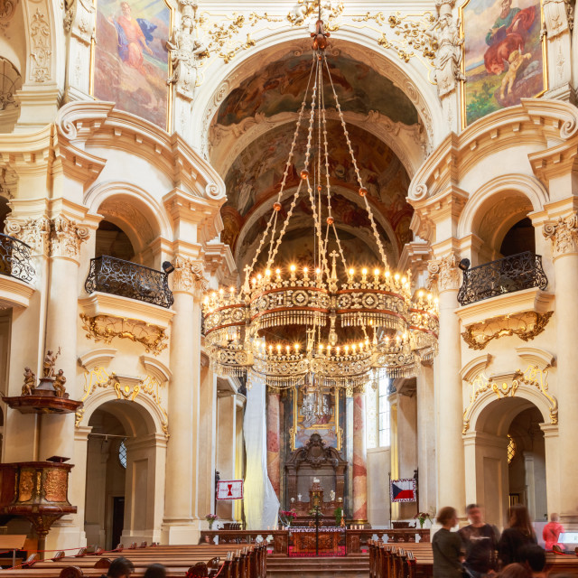 """""""Interior Of Baroque Church Of St. Nicholas - Old Town Square in Prague, Czech..."""" stock image"""