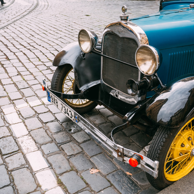 """Close up of old vintage blue car Ford A"" stock image"