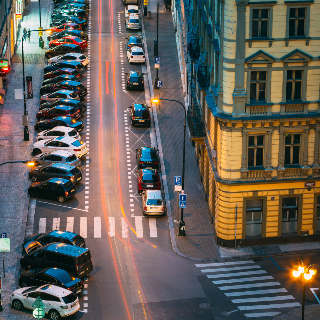 """""""Night Traffic and parked cars on the Hybernska street in Prague, Czech Republic."""" stock image"""