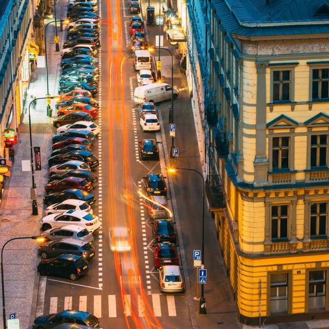 """""""Night Traffic and parked cars on the Hybernska street in Prague, Czech..."""" stock image"""